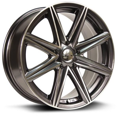 roue RTX Wheels Spur, gris gunmetal machine (17X7.5, 5x114.3, 73.1, déport 40)
