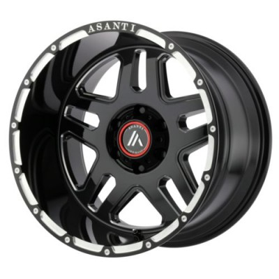 Roue Asanti Off Road AB809, noir lustre machine (17X8.5, 5x114.3, 72.60, déport 25)