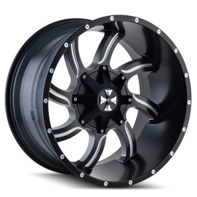 Roue Cali Off-Road TWISTED, noir machine (20X14, 6x135/139.7, 108, déport -76)