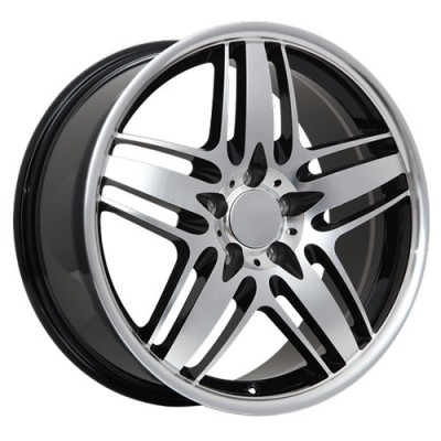 roue Art Replica Wheels R66, noir lustre machine (18X8, 5x112, 66.6, déport 42)