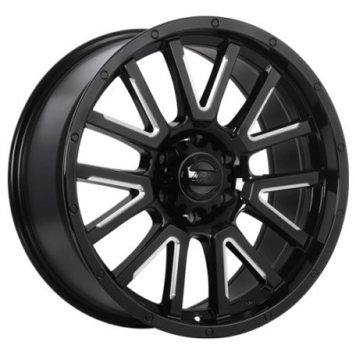 roue DAI Alloys Karv, noir lustre rebord machine (17X9.0, 5x127, 71.5, déport 10)