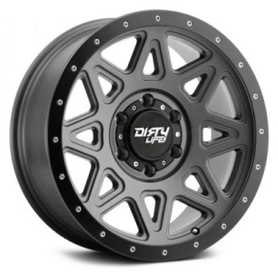 Roue Dirty Life THEORY, gris gunmetal mat (17X9, 8x165.1, 130.8, déport -12)
