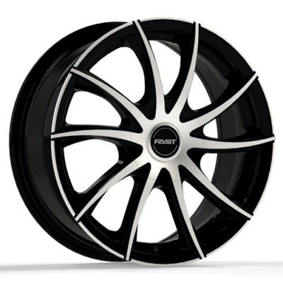 roue Fast Wheels Vortex, noir lustre machine (15X6.5, 4x100/114.3, 72.6, déport 42)