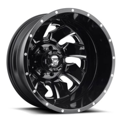 Roue FUEL Cleaver Dually Rear D574, noir machine (20X8.25, 8x165.1, 125.2, déport -221)