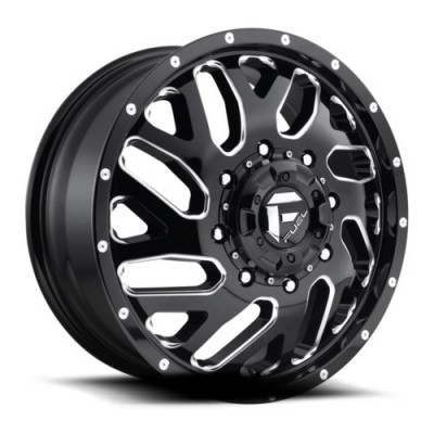 Roue FUEL Triton Dually Front D581, noir lustre machine (20X8.25, 8x200, 142.2, déport 104.8)