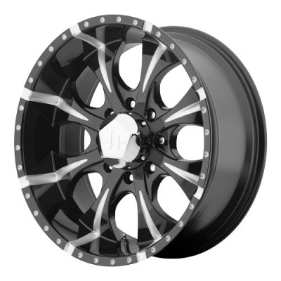 roue Helo Wheels Maxx, noir lustre machine (18X9, 8x165.1, 130.81, déport -12)