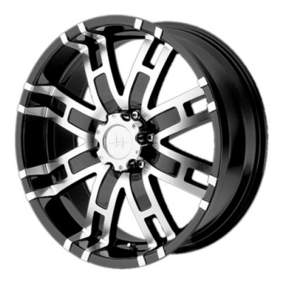 roue Helo Wheels HE835, noir lustre machine (18X9, 5x114.3, 74.1, déport 18)