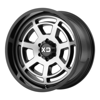 Roue KMC Wheels XD824 BONES, noir lustre machine (20X10, 5x127, 78.3, déport -24)