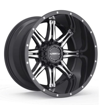 Roue KranK Off-road Shaft, noir lustre machine (17X9.0, 5x114.3/127, 78.1, déport 0)