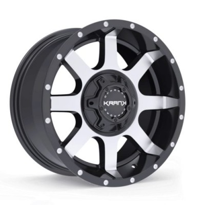 Roue KranK Off-road Slick, noir lustre machine (18X9.0, 6x135/139.7, 108, déport 18)