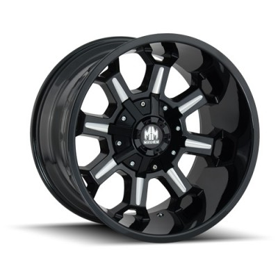 Roue Mayhem COMBAT, noir lustre machine (17X9, 5x114.3/127, 87, déport -12)