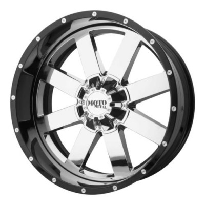 roue Moto Metal MO200, chrome insertion noir (22X10, 5x127, 72.6, déport -18)