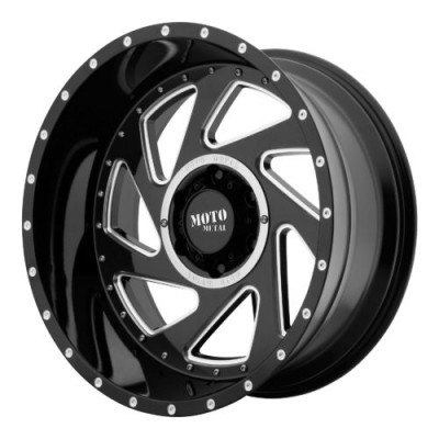 Roue Moto Metal MO989 CHANGE UP, noir lustre machine (20X12, 5x127, 71.50, déport -44)