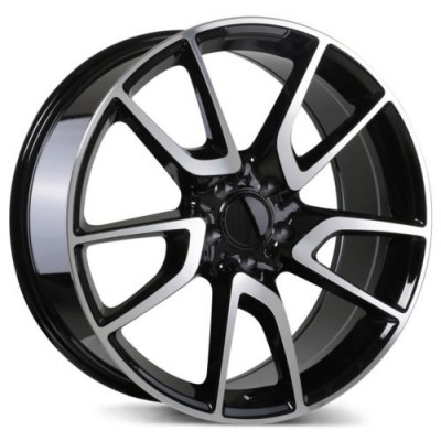 Roue Replika Wheels R207, noir lustre machine (19X8.5, 5x112, 66.5, déport 40)