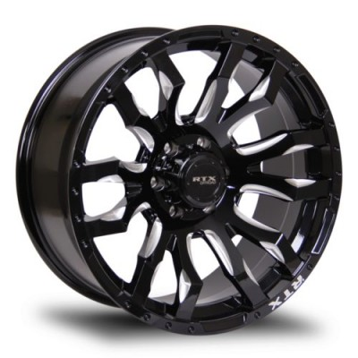 Roue RTX Wheels Patton, noir lustre rebord machine (20X9, 6x135, 87.1, déport 0)