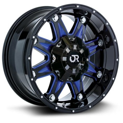 Roue RTX Wheels Spine blue accents, noir machine (18X9, 6x139.7, 106, déport 10)
