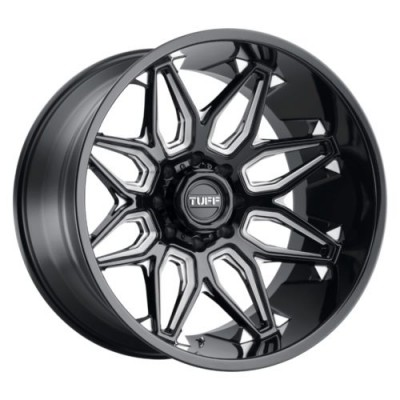 Roue Tuff Wheels T3B, noir lustre rebord machine (20X12, 8x165.1, 125.1, déport -45)