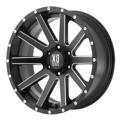 roue KMC Wheels Heist, noir machine (18X9, 6x120, 66.9, déport 18)