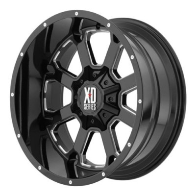 Roue XD Series by KMC Wheels BUCK 25, noir lustre machine (22X10, 8x170, 125.5, déport -18)
