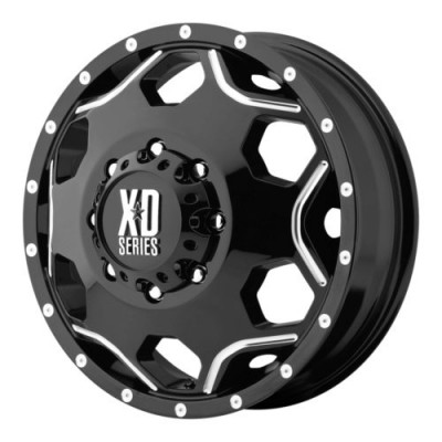 Roue XD Series by KMC Wheels CRUX DUALLY, noir lustre machine (17X6, 8x200, 142, déport -134)