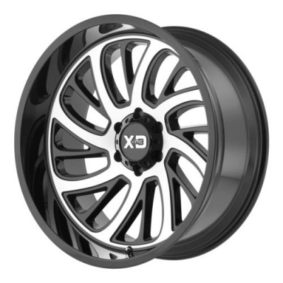 Roue XD Series by KMC Wheels SURGE, noir lustre machine (22X12, 8x180, 124.2, déport -44)