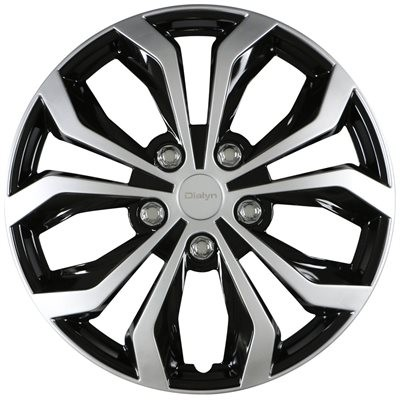 """Wheel Covers 16"""" (set of 4) - Dialyn Style 132 Silver/Black - 13216SB"""