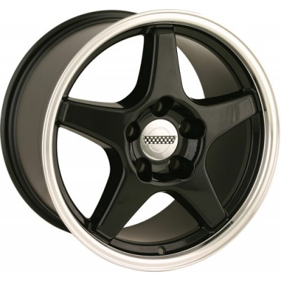 Detroit  840 Black Machine Lip wheel (17X9.5, 5x120.65, 70.7, 56 offset)