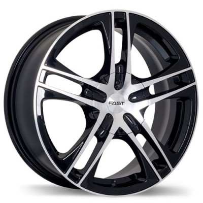 Fastwheels Reverb Gloss Black with Machined Face/Noir lustré avec façade machinée, 15x7.0, 5x100/114.3 (offset/deport 40), 73