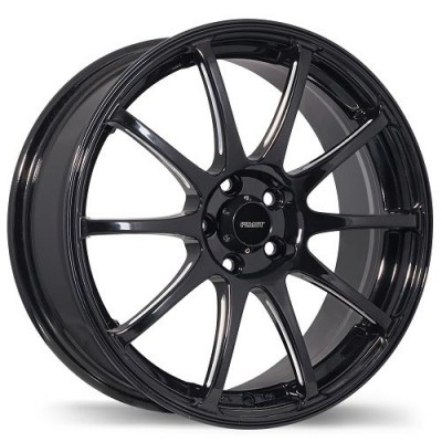 Fastwheels Underground Gloss Black with Milled Grooves/Noir lustré avec des rainures usiné, 17x7.0, 4x100 (offset/deport 42), 73