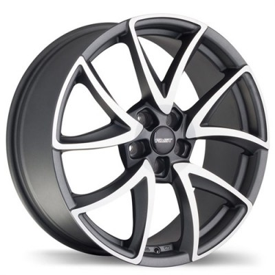 Fastwheels F195 Slice , 18x8.0 , 5x114.3 , (offset/deport 45 ) , 72.6 , Gunmetal With Matte Machined Face/Gunmetal avec facade machinee mate