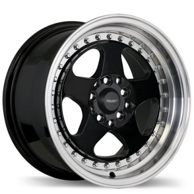 Fastwheels Hippari Gloss Black with Machined Lip/Noir lustré avec rebord machiné, 15x8.0, 5x114.3 (offset/deport 28), 73