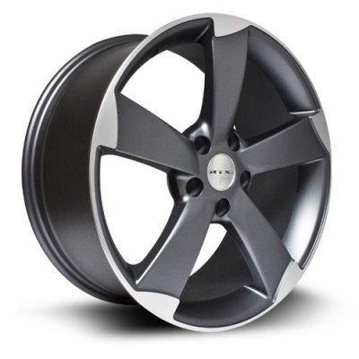 RTX Wheels RS, Gris Gunmetal Machine/Machine Gunmetal, 18X8, 5x112 ( offset/deport 45), 66 Audi/Volkswagen