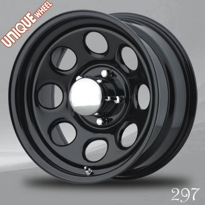 Unique Wheel 297 Black wheel (15X8, 5x114.3, 83.82, -12 offset)