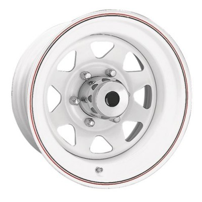 Ceco 8-Spoke White wheel (15X10, 8x165.1, 130, -32 offset)