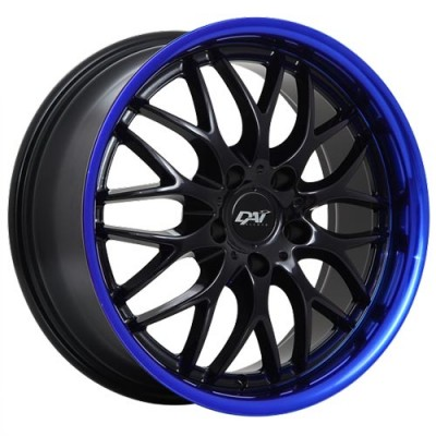 Dai Alloys Passion Gloss Black - Blue Lip/Noir lustré - Contour bleu, 18X8.0, 5x114.3 ,(déport/offset45 )73.1