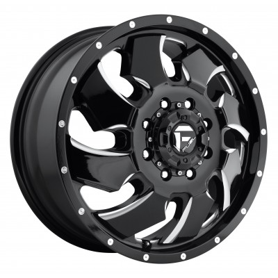 FUEL Cleaver Dualie Front D574 Machine Black wheel (20X8.25, 8x165.1, 117.2, 105 offset)