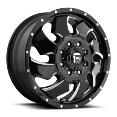 FUEL Cleaver Dually Front D574 Machine Black wheel (20X8.25, 8x165.1, 125.2, 105 offset)