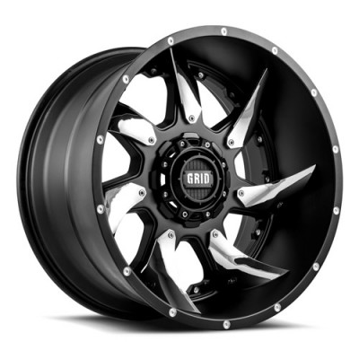 Grid GD01 Matt Chrome Black wheel (17X9, 5x114.3/127, 78.3, -12 offset)