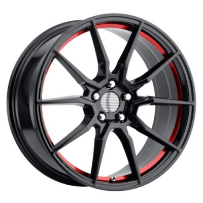 OE Creations PR193 Black Red wheel (18X9, 5x114.3, 70.6, 30 offset)