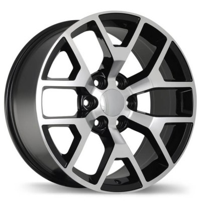Replika R162 Gloss Black Machine wheel (22X9, 6x139.7, 78.1, 27 offset)