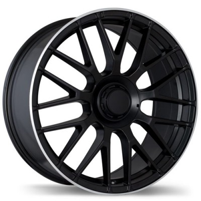 Replika R183 Matt Black Machine wheel | 19X8.5, 5x112, 66.5, 35 offset