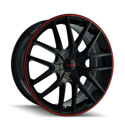 Touren TR60 Black Red Stripe / Noir Contour Rouge, 20X8.5, 5x112/120 ,(déport/offset 40 ) 74.1