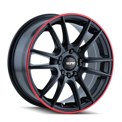 Touren TR77 Black Red wheel | 16X7, 4x100/114.3, 67.1, 40 offset