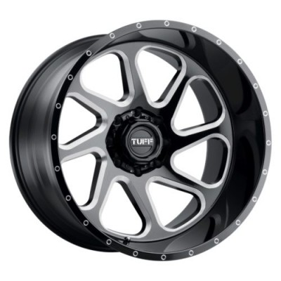 Tuff Wheels T2B Gloss Black Diamond Cut wheel (24X14, 8x165.1, 125.1, -72 offset)