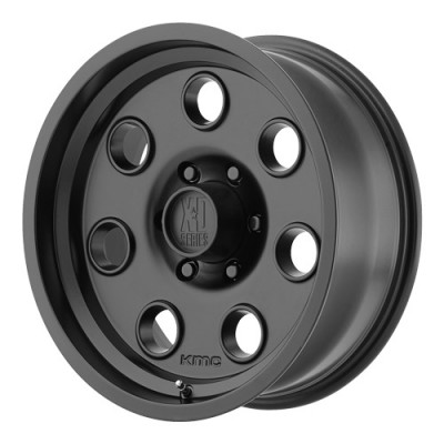 KMC Wheels Pulley Satin Black wheel (16X8, 6x114.3, 83.06, 0 offset)