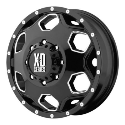 XD Series by KMC Wheels BATALLION Gloss Black Machine wheel (22X8.25, 8x170, 125.5, 127 offset)