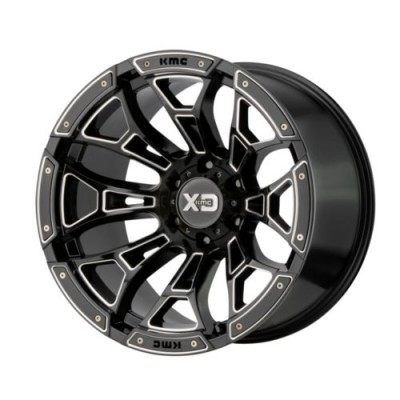 XD Series by KMC Wheels BONEYARD Gloss Black Machine wheel (18X10, 8x170, 125.5, -18 offset)