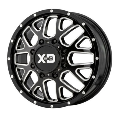 XD Series by KMC Wheels GRENADE DUALLY Gloss Black Machine wheel (20X8.25, 8x165.1, 125.5, 127 offset)