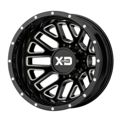 XD Series by KMC Wheels GRENADE DUALLY Gloss Black Machine wheel (20X8.25, 8x165.1, 125.5, -198 offset)