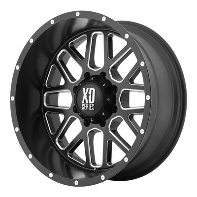 XD Series by KMC Wheels XD820 GRENADE Machine Black wheel | 16X7, 6x130, 84.10, 42 offset